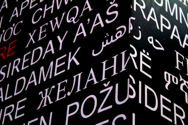 Various letters printed in different language formats