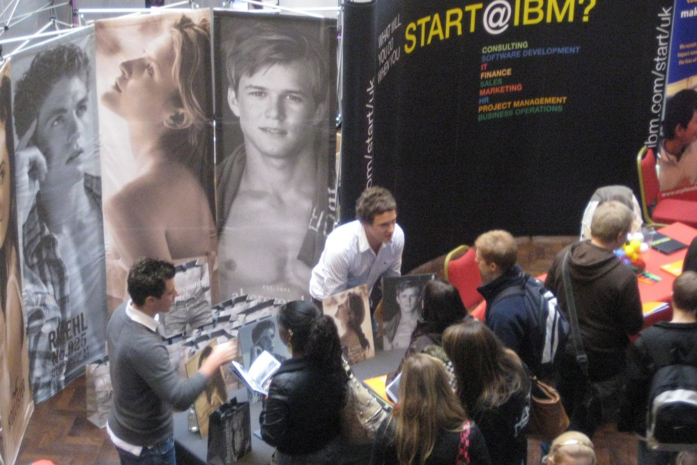Graduate employers talking to students