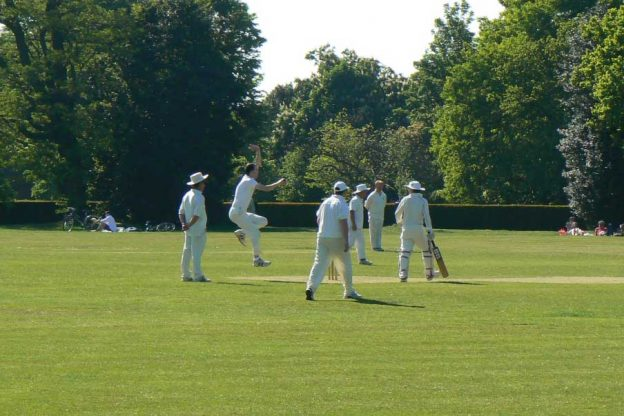 People playing cricket on a summer's day