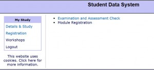 Exam Registration Screen 1