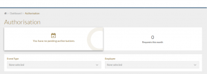 pending authorisation screen of Staff Connect