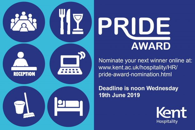 Pride award poster with logos representing Hospitality