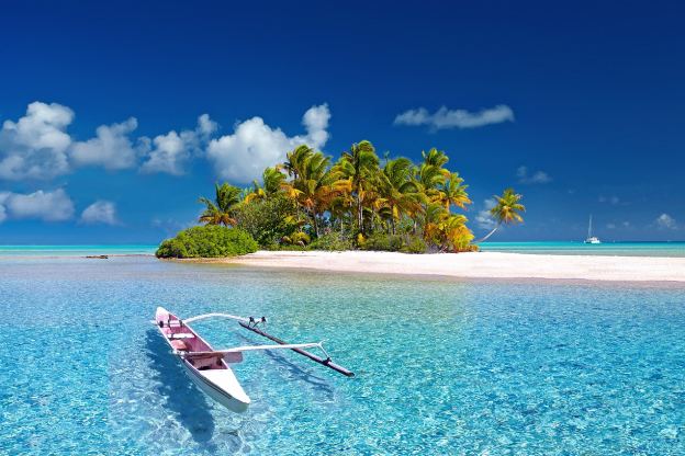 Island with small boat in the surrounding water