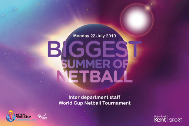 """Biggest summer of netball"" on space background"