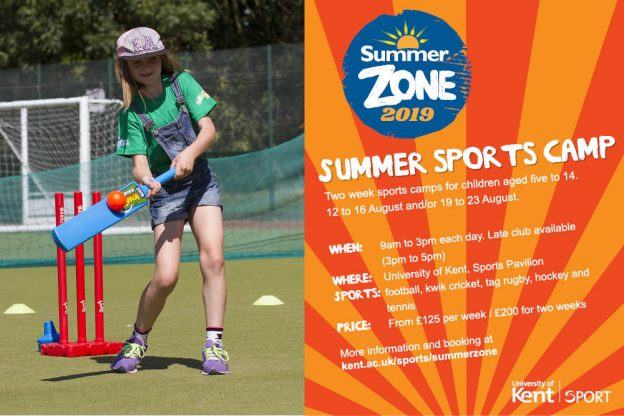 Summer zone poster including image of child playing cricket