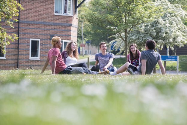 5 students sat on the grass outside on campus