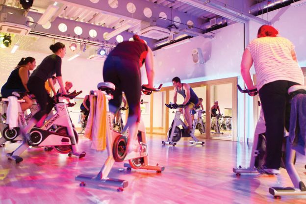 Spinnng class on exercise bikes