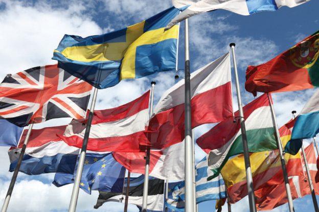 Lots of European flags flying