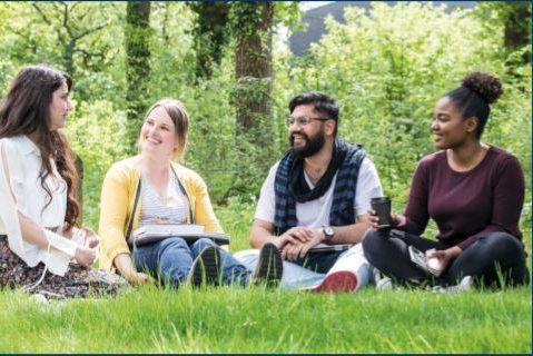 Four universoty students sitting together chatting and smiling within a leafy woody setting.