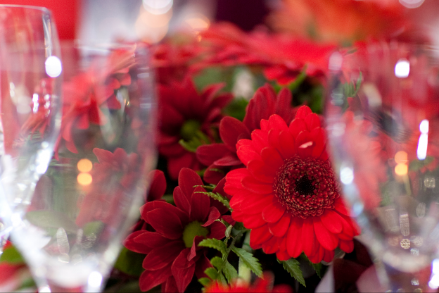 Red Flowers and champagne glasses
