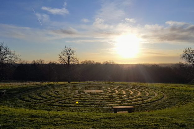 Labyrinth on campus with sun rise