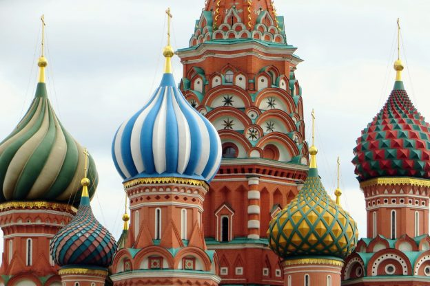 Colourful domed buldings sat in the heart of Russia
