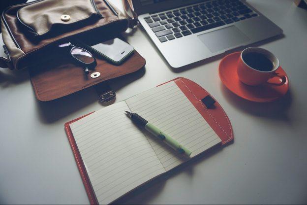 Laptop, Coffee, Notebook, Pen & Glasses