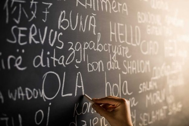 ChalkBoard with the word hello written in different languages