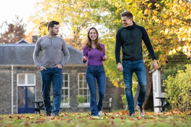 Students walking on Medway campus