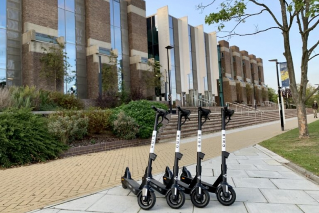 E-scooters outside Templeman Library