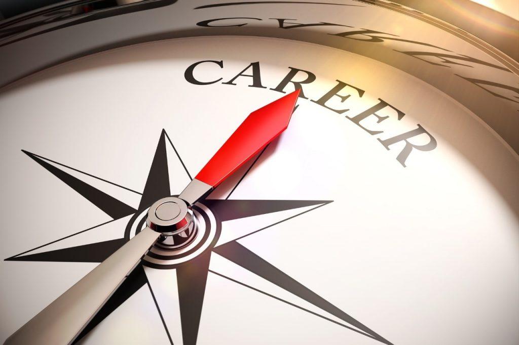 Closeup of compass pointing towards word career
