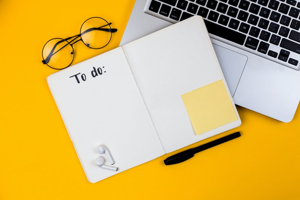 To do list, pen and glasses