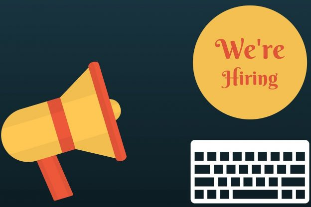 We're hiring with keyboard and megaphone images