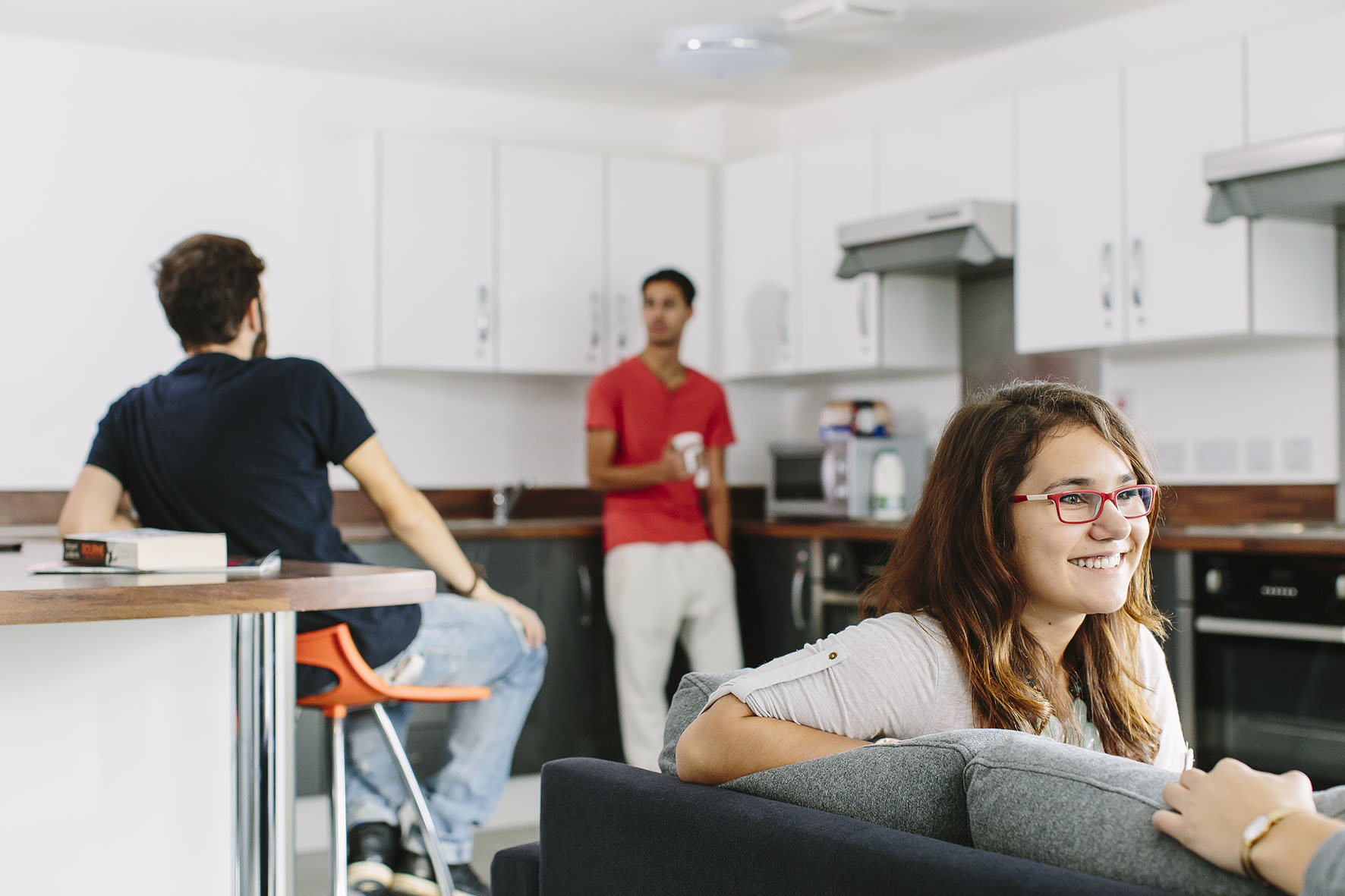 Three students in University accommodation