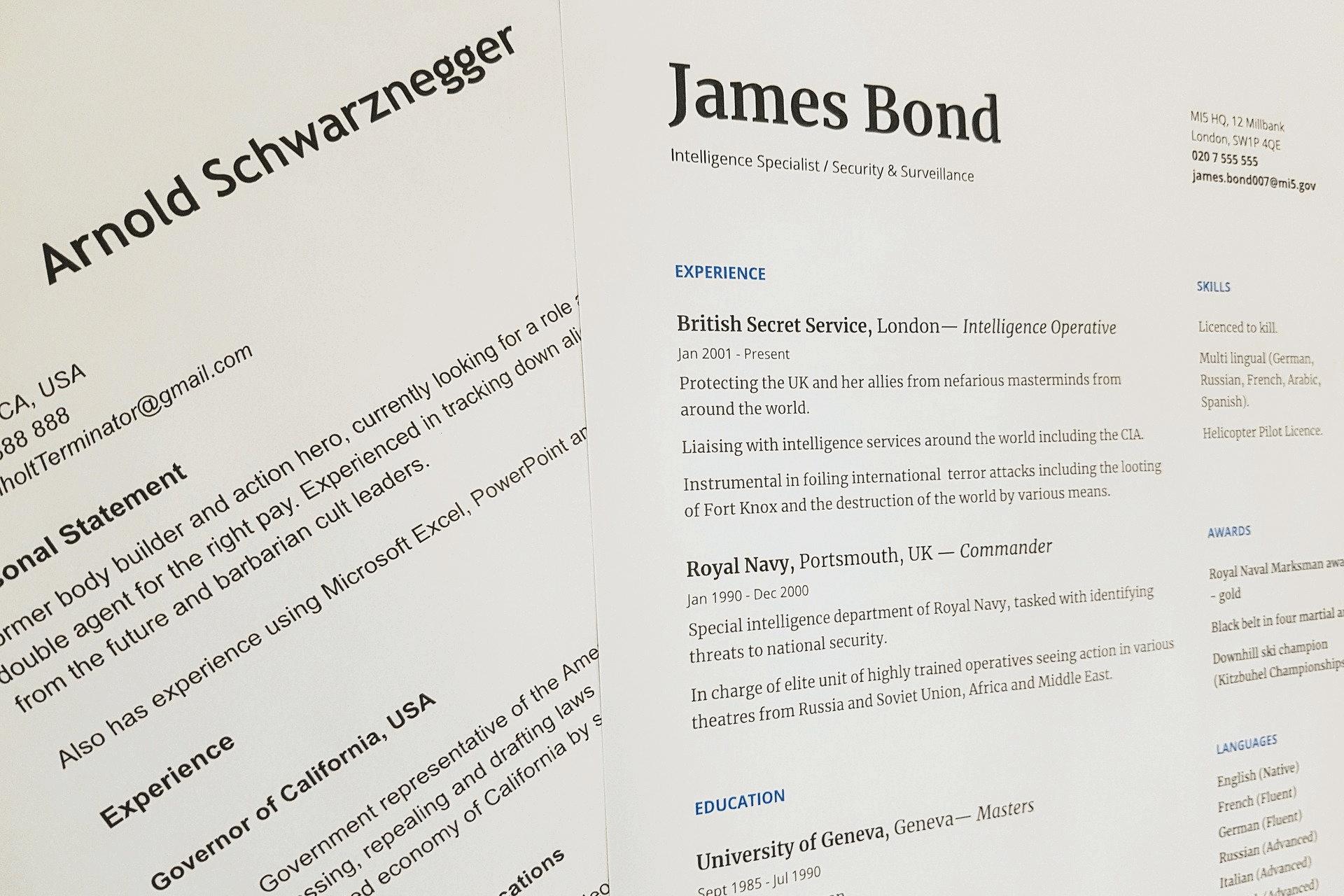 Celebrity CVs