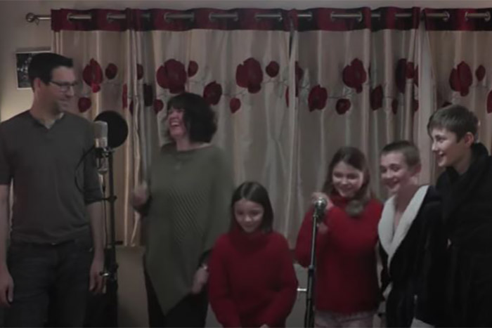 Marsh family singing their song 'Totally fixed where we are'