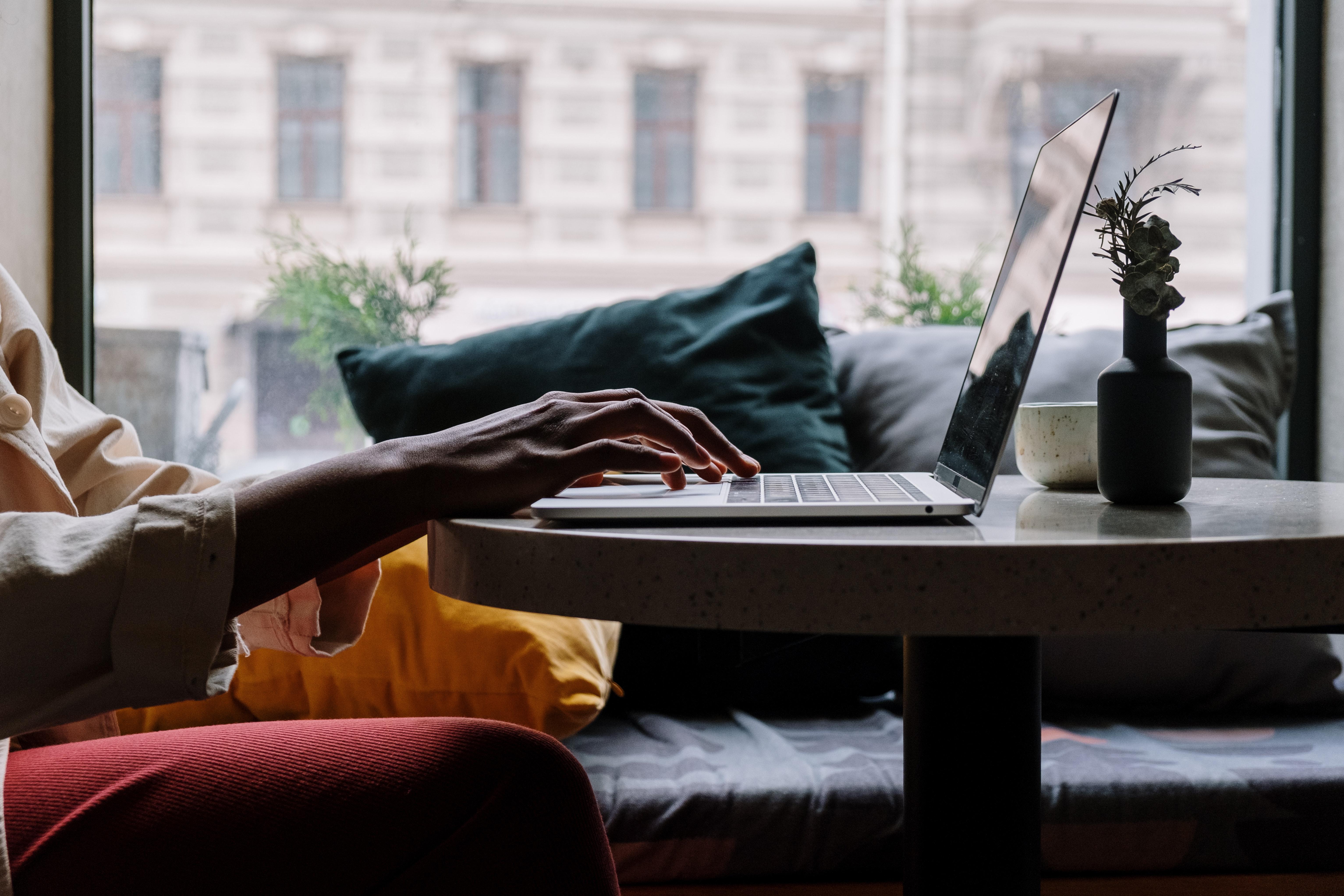 student studing on laptop