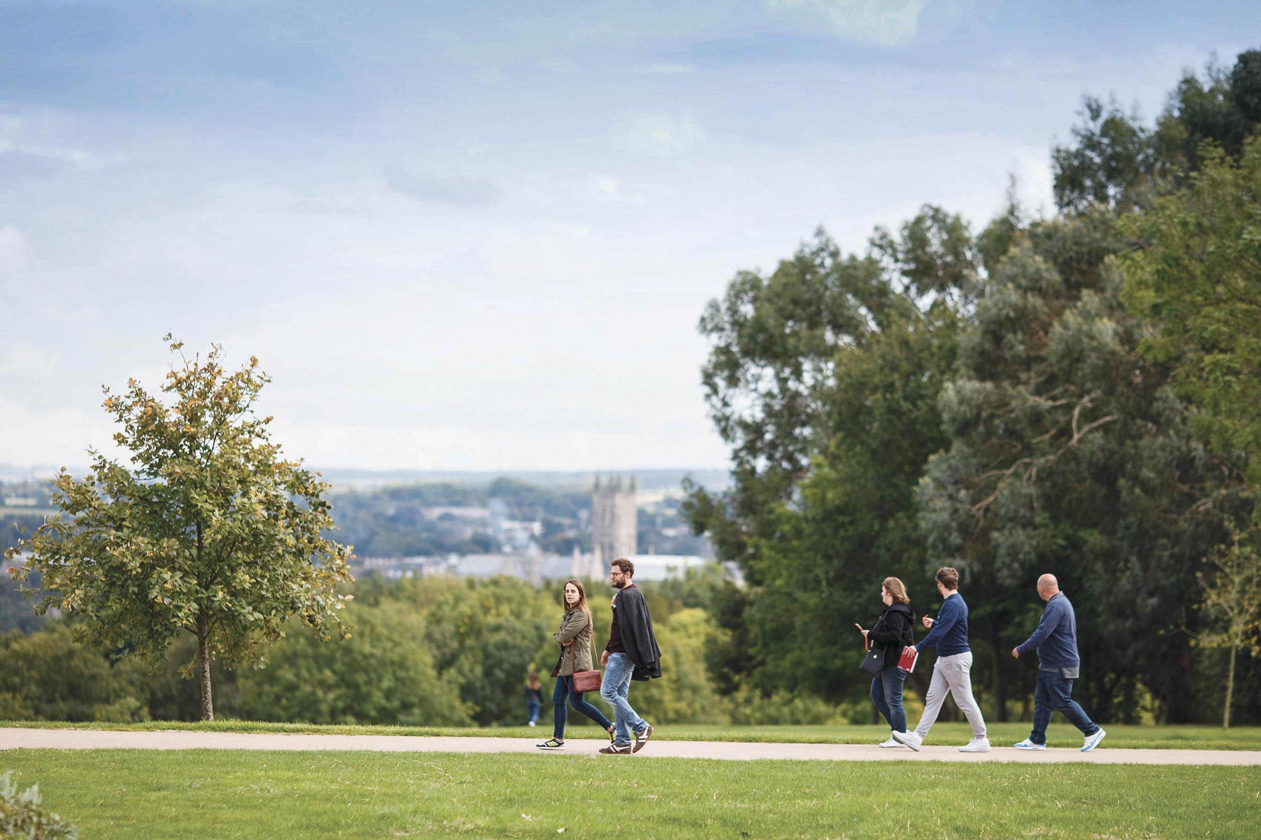 People walking on Canterbury campus