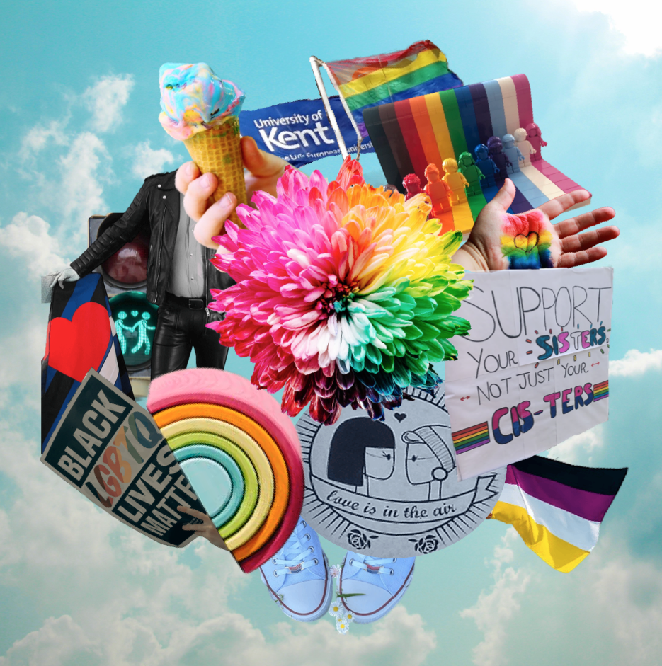 Collage of images representing Pride Month