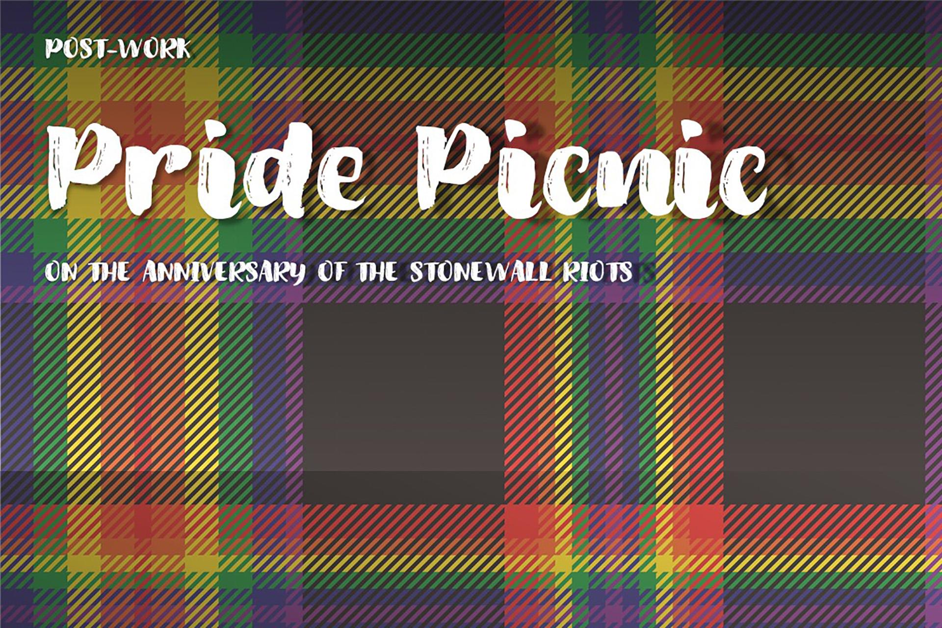 Pride Picnic heading on tartan blanket