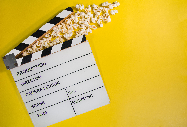 film clapper board and popcorn