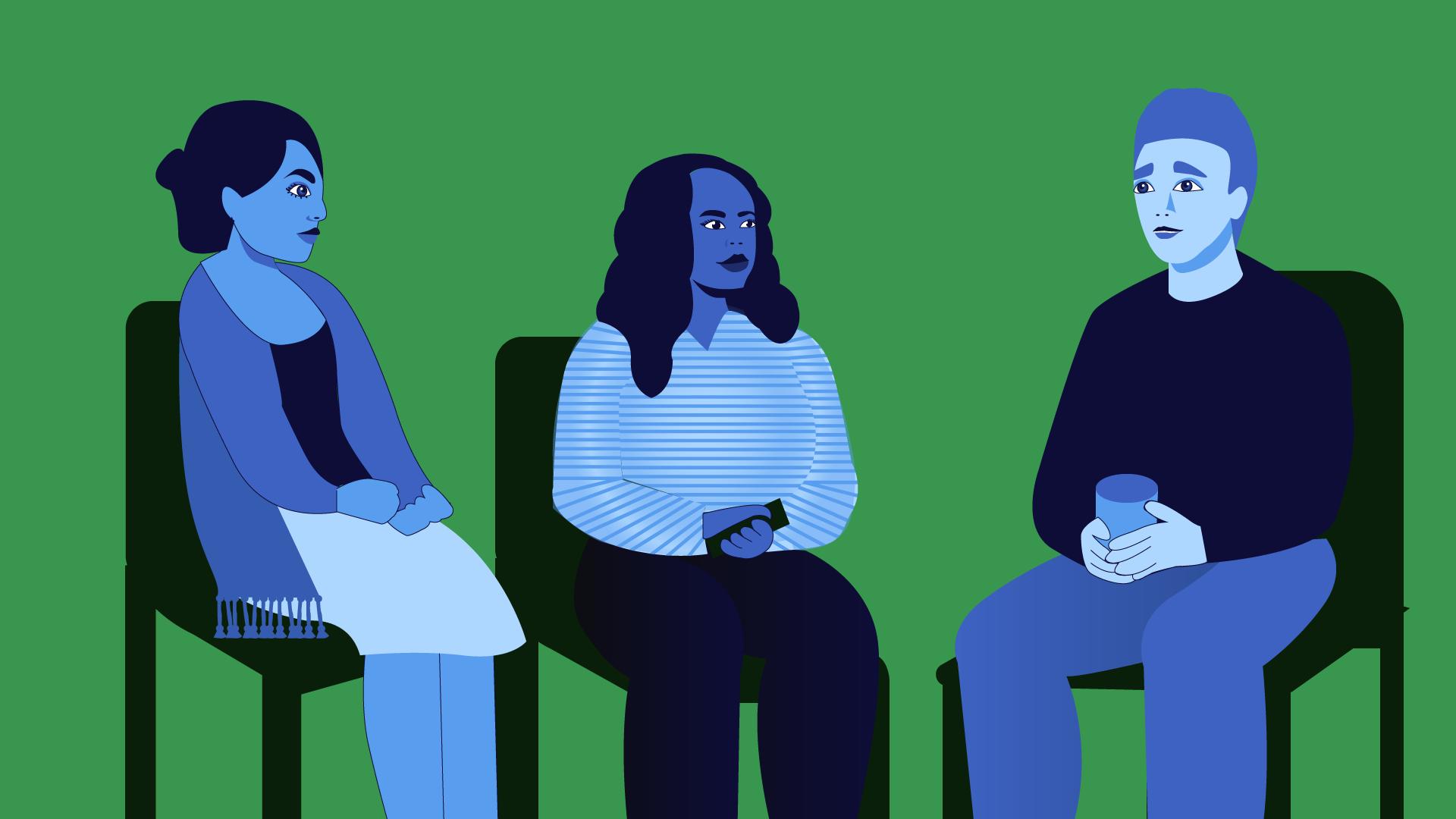 Cartoon of three students sat together