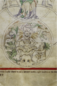 Excerpt from God and Lucifer British Library Royal 2 B VII ('The Queen Mary Psalter') England, between 1310 and 1320