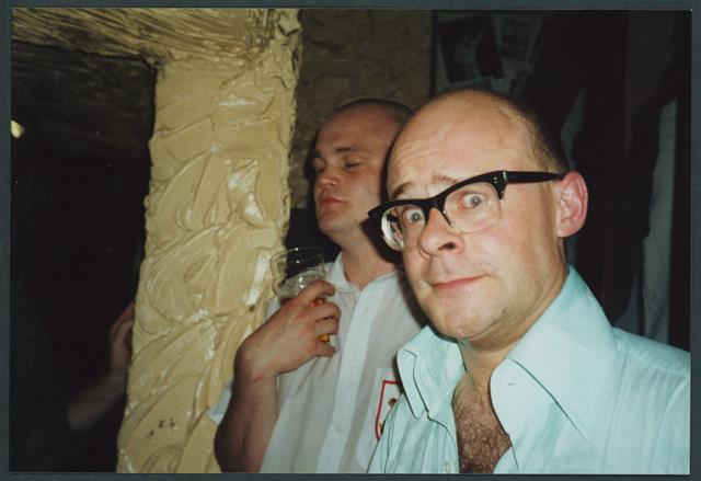 Harry Hill and Al Murray at the last night of the Meccano Club at the Market Tavern, Islington