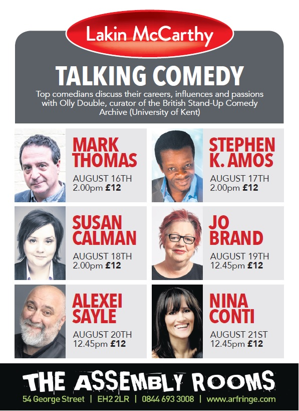 British Stand-Up Comedy and Lakin McCarthy 'Talking Comedy' events, Edinburgh Fringe Festival 2015