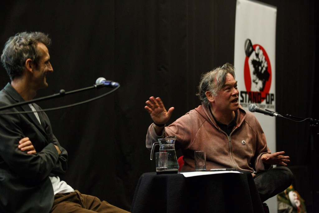 Stewart Lee in conversation with Oliver Double, Gulbenkian Cinema, 10 June 2015. Image © University of Kent / Matt Wilson