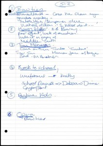Linda Smith's notes for her appearance on Room 101, broadcast 17 November 2003