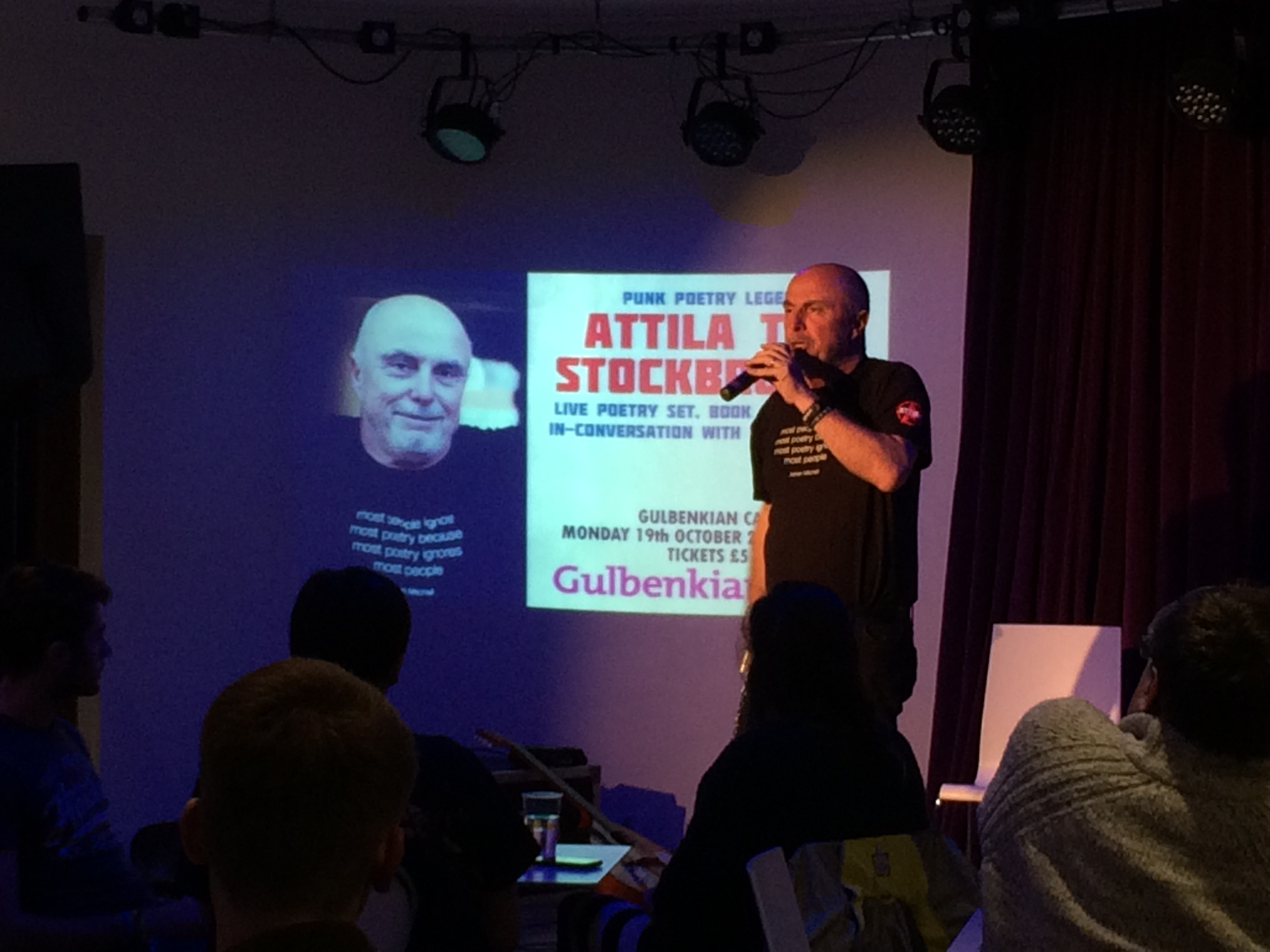 Attila the Stockbroker performing at the Gulbenkian Cafe. Photo Elspeth Millar