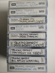 Interviews with comedians on DATs (Digital Audio Tapes) from the John Pidgeon Collection