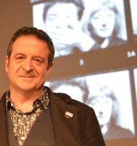 Mark Thomas in the Gulbenkian Theatre before giving the Linda Smith Lecture 2015