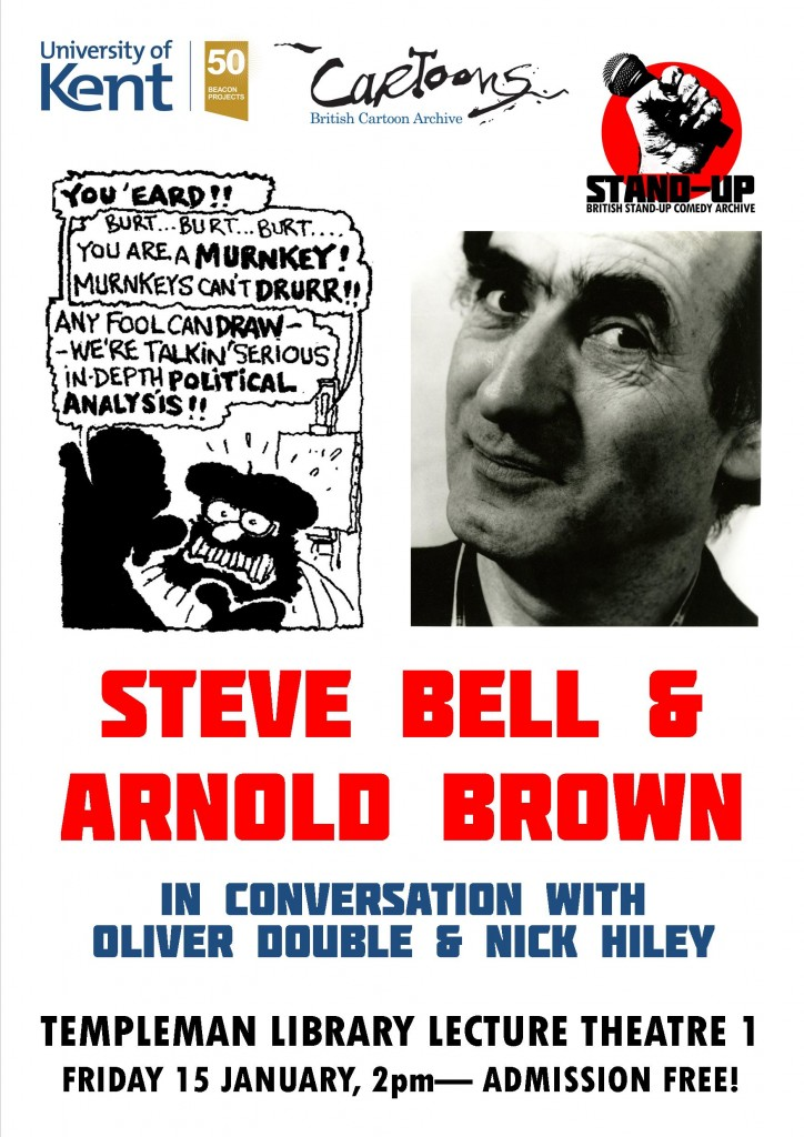 Poster advertising Steve Bell &Arnold Brown in conversation
