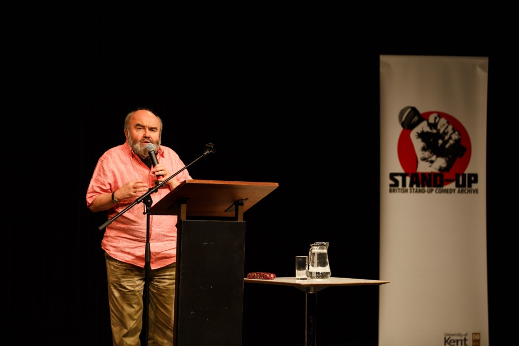Andy Hamilton, presenting the 2016 Linda Smith Lecture, 3 May 2016, Gulbenkian Theatre, University of Kent