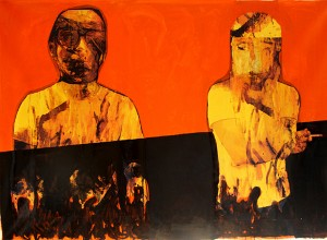Hazem Harb - I Will Wait for You Forever.2010, mixed media on collage and canvas 140x200cm