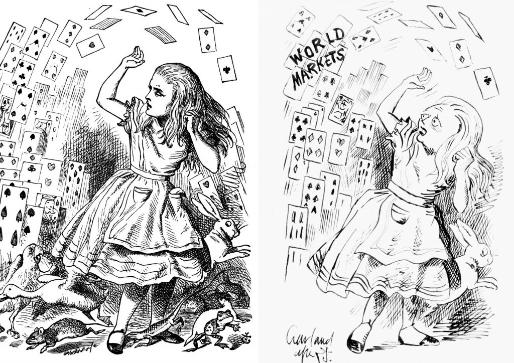 John Tenniel's original illustration of Alice being attacked by the pack of cards (left) alongside a political cartoon by Nicholas Garland depicting Margaret Thatcher as Alice being assailed by 'world markets' (right).