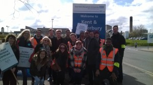 Group of picketing junior hospital doctors at Canterbury hospital