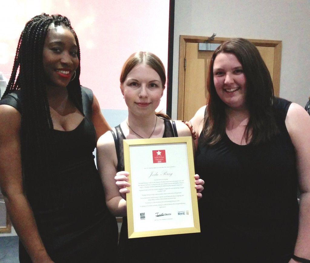 Jodie Perry winning the student rep 2015 award