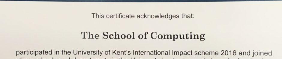 International award certificate