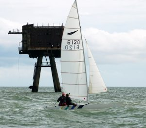Professor Richard Jones sailing in the Thames estuary