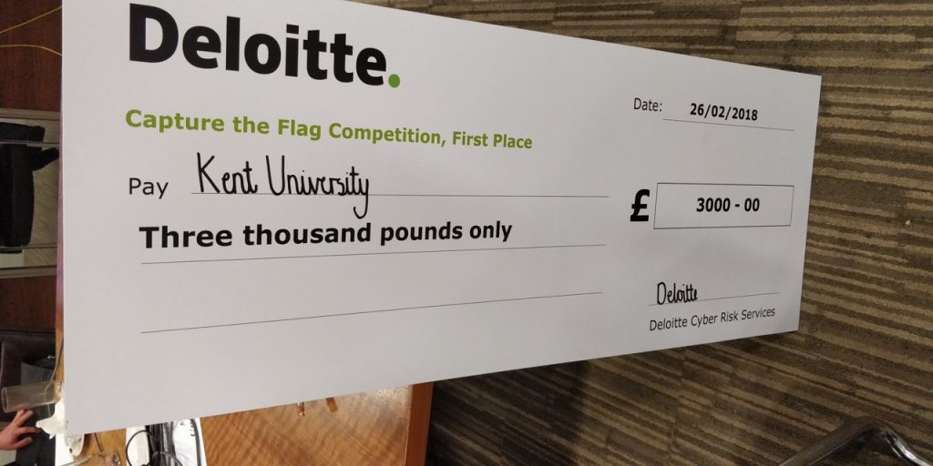 Winning cheque from Deloitte capture the flag challenge