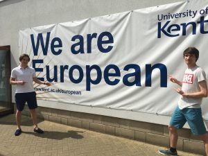 EPITECh students pose in front of the we are European banner